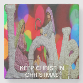 Keep Christ n Christmas with the Nativity and Love Stone Coaster