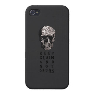 Keep claim and not drugs Skull Graphic (Hue) iPhone 4 Cover