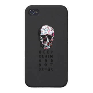 Keep claim and not drugs Skull Graphic iPhone 4/4S Covers