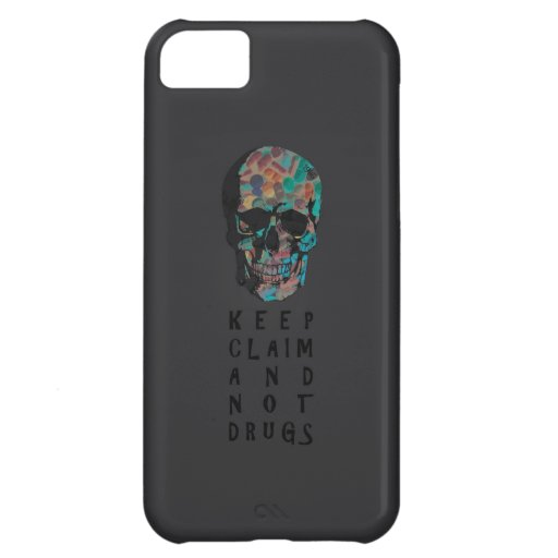 Keep claim and not drugs Skull Graphic (negative) iPhone 5C Case