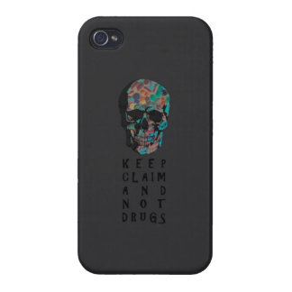 Keep claim and not drugs Skull Graphic (negative) iPhone 4/4S Cases
