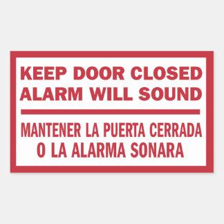 Keep Door Closed sign English Spanish Sticker
