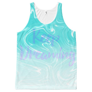 Keep Dreaming Typography on Liquid Marble Design All-Over-Print Tank Top