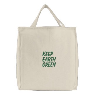 Keep earth green embroidered bags