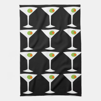 Keep 'Em Coming Martini Kitchen Towel (black)