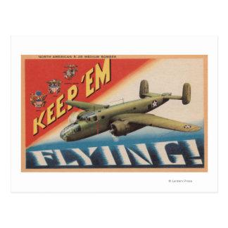 Keep 'Em Flying/B-25 Medium Bomber (Airplane) Postcard