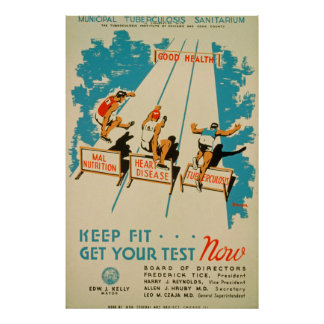 Keep Fit Get Your Test Now Vintage Poster