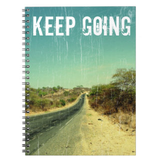 """Keep going"" vintage photo of a road Notebook"
