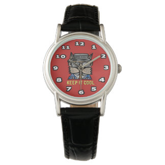"""""""Keep It Cool"""" Classic Womens Black Leather Watch"""