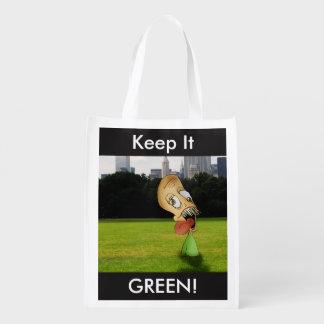 """Keep it GREEN!"" Reusable bag Market Totes"