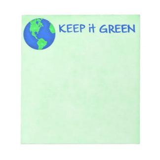 Keep It Green Save Earth Environment Art Memo Note Pad