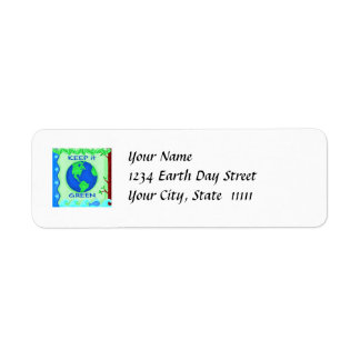 Keep It Green Save Earth Environment Art Return Address Label