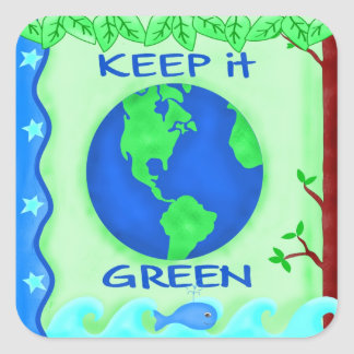 Keep It Green Save Earth Environment Art Square Sticker