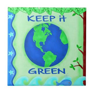 Keep It Green Save Earth Environment Art Tiles