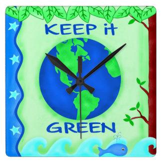 Keep It Green Save Earth Environment Art Wallclock