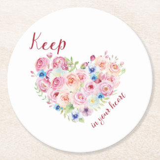 Keep love in your heart round paper coaster