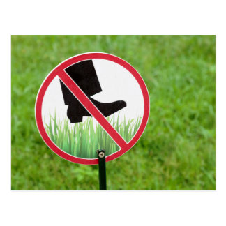 Keep Of The Grass Sign Postcard