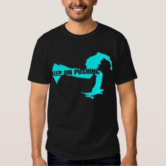 keep on pushing skateboarding t-shirt cyan dark