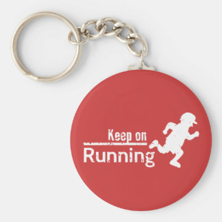 Keep on Running in White Grunge Keychain