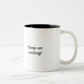 Keep on smiling! Two-Tone coffee mug