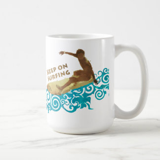 Keep on Surfing, Grunge and Waves for Surf Dudes Coffee Mug