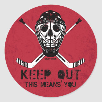 Keep Out Hockey Goalie Classic Round Sticker