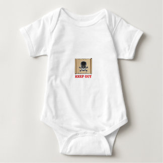 keep out posted sign baby bodysuit