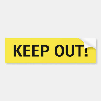 Keep out yellow and black sticker bumper sticker