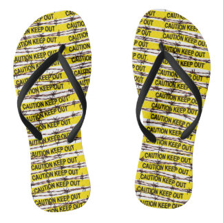 Keep Out! Yellow Tape and Barbed Wire Flip Flops