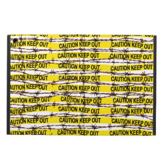 Keep Out! Yellow Tape and Barbed Wire iPad Air Cover