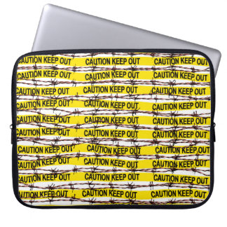 Keep Out! Yellow Tape and Barbed Wire Laptop Sleeve