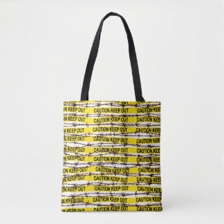 Keep Out! Yellow Tape and Barbed Wire Tote Bag
