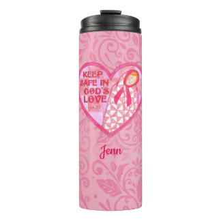 Keep Safe Pink Ribbon Quilt Personalized Thermal Tumbler