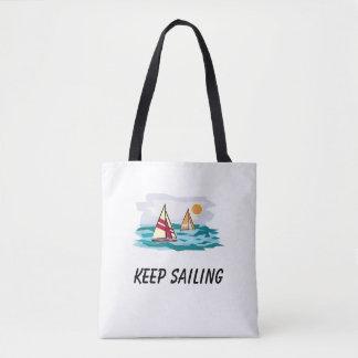 Keep Sailing Sailboat Beach Tote Bag