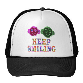 KEEP SMILING : Artistic Text n Faces Trucker Hat