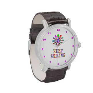 KEEP SMILING text & Cute Graphic Ornament Watch