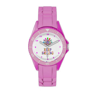 KEEP SMILING text & Cute Graphic Ornament Watches