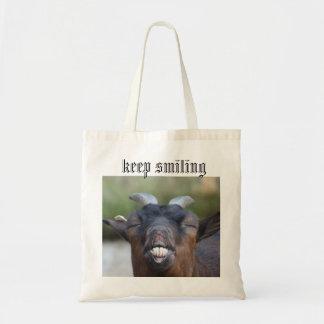 keep smiling tote bag