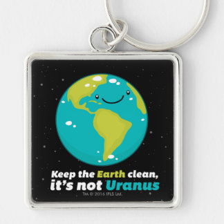 Keep The Earth Clean Silver-Colored Square Keychain