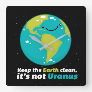 Keep The Earth Clean Square Wall Clock
