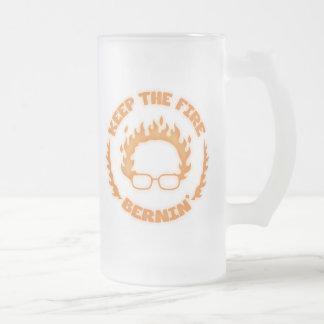 Keep the Fire Bernin' Frosted Glass Beer Mug