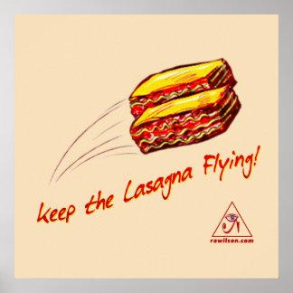 "Keep the Lasagna Flying Poster 24"" x 20"""