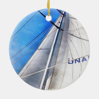 Keep The Wind In Your Sails Round Ceramic Ornament