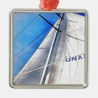 Keep The Wind In Your Sails Silver-Colored Square Ornament