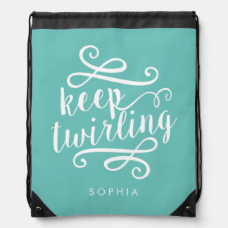 Keep Twirling | Aqua & White Typography Quote Drawstring Bag