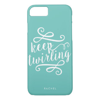 Keep Twirling | Mint & White Typography Quote Case-Mate iPhone Case