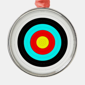 Keep Your Eye on The Target - Bullseye Print Silver-Colored Round Ornament