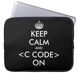 KeepCalm and c code on laptop sleeve | Geek humor