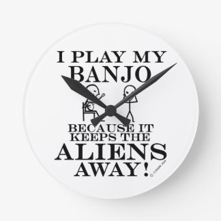 Keeps Aliens Away Banjo Round Clock
