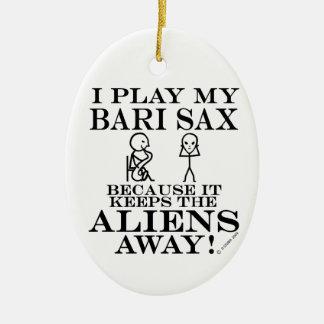 Keeps Aliens Away Bari Sax Ceramic Ornament
